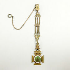 Vest Pocket Watch Chain with Medallion e728 Antique Gold Filled Multi-Chain Fob