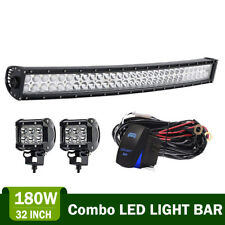 "30/32"" LED CURVED LIGHT BAR+4"" PODS OFFROAD FOR Polaris Ranger RZR SUV Boat ATV"
