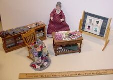 Miniature 1/12 scale dollhouse sewing shop accessories and doll