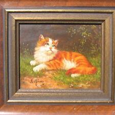 Bahman Adjez * 1941 KATZE Wiese rotes Kätzchen kitten pussy cat kitty painting