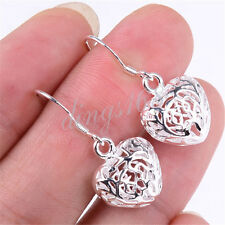 925 Sterling Silver Filigree See-Through Hollow Heart 15mm Dangle Earrings H044