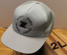VINTAGE NASHUA HOMES MOBILE CORRAL TRUCKERS HAT GRAY SNAPBACK VERY GOOD COND