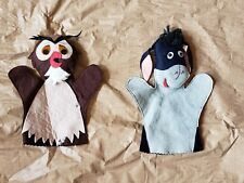 Vintage Felt Disney Winnie the Pooh Hand Puppet Set Owl & Eeyore