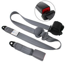 Automatic Retractable 3 Point Vehicle Car Safety Seat Belt Buckle Kit Gray Strap