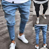 Mens Slim Skinny Work Joggers Denim Jeans Casual Long Pants Trouser Pleated