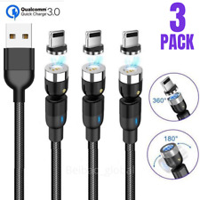3Pack 3Ft 6Ft Magnetic Lightning Fast Charging Cable 3A iPhone Charger Data Cord