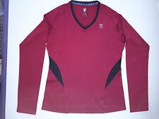 K-Swiss Sz M - Long Sleeved V neck Tennis Running top Beet red Black
