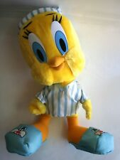 Large Plush Tweety Bird Stuffed Animal w/ Night Shirt, Hat & Sylvester Slippers