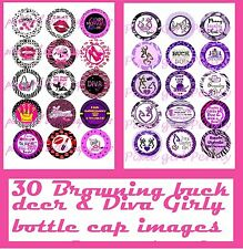 30 Precut County Girl Princess Purple Browning Buck & Diva bottle cap images