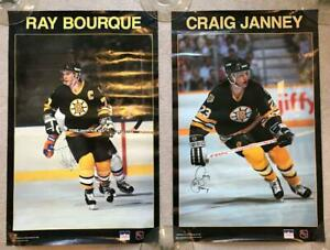 """(2) SIGNED Boston Bruins Posters-Ray Bourque & Craig Janney - 22 x 28"""""""