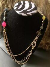 Claw Closure~Goldtone Super Cute Multi-Chain Multi-Bead Costume Necklace~Lobster