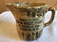 WOW Vintage Spongeware Pitcher Red White Stove Advertising Carson N.D. Stoneware