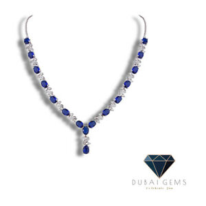White gold finish oval blue sapphire and created diamonds Necklace free postage