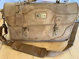 Gokey (Orvis) Tan Leather Briefcase WITH Shoulder Strap Messenger Style