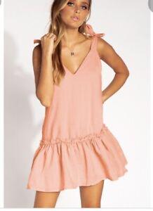 BNWT Diish 'Sweet Sunday' Linen Mini Dress Size 14 Blush Pink