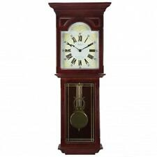 "BEDFORD COLLECTION*Dark Redwood Oak Finish 23""WALL CLOCK*with PENDULUM and CHIME"
