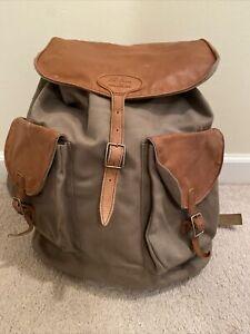 Vintage L.L BEAN CANVAS & LEATHER Continental Rucksack Backpack