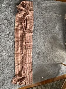 Waverly Home Cotton Canvas Valance Red & Tan Plaid Lined EUC 16 X 72