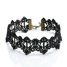 Charm Gothic Hollow Black Lace Pendant Choker Collar Necklace Womens Jewelry