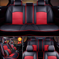 For Ford F-150 2010-2016 Seat Covers Front&Rear Cushions w/Pillows Black&Red Set