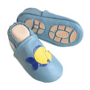 Liya's Babyschuhe Hausschuhe Lederpuschen - #622 Fisch in pastellblau