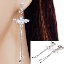 #c054 Clip On Non-pierced Clear Crystal Angel Wing Tassel 6cm Earrings Women NEW