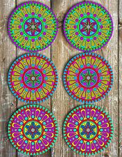 Bright Mandala Mix Neoprene Drink Coasters Set of 6 Barware Gift Ideas