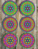 Bright Mandalas Drink Coasters Set of 6 Neoprene Barware Gift Ideas