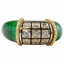 Enamel Diamond Ring Platinum 18K Gold Vintage