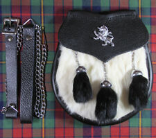 NEW SCOTTISH SEMI DRESS LION BADGE WHITE RABBIT SPORRAN WITH BLACK TASSELS