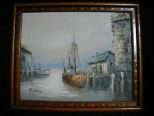 old vintage oil painting original signed picture fishing boats