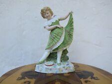 "Lovely Antique Gebruder Heubach Dancing Girl Bisque Piano 11.5"" Figurine, c.1890"