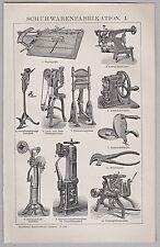 Schuhe, Schuster, Schumacher, Werkzeuge, Maschinen der Fabrikation - um 1900