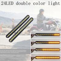 24LED Universal motorcycle turn signal strip water tail brake light indicato_ti