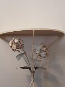Vintage Shabby Chic Metal Sconce Shelf Cream Geranium Flower Design