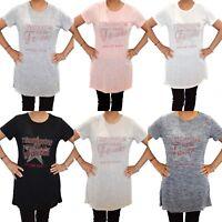 New Womens Ladies Diamante Short Sleeve Printed  T-Shirt Long Line Tee Tops UK