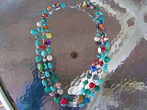 "Long, 3 Strand Navajo Indian Turquoise & Coral ""Treasure"" Necklace Wilma Tsosi"