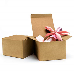 ValBox 20pcs Brown Gift Boxes 5 x 5 x 3.5 Recycled Paper Gift Boxes with Lids