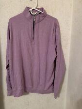 Peter Millar Sport Pullover Men Sweater Sweatshirt Sz Large 1/4 Zip Purple Golf