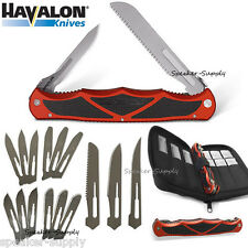 Havalon Knives Hydra Red Double Bladed Folding Knife w/ 17 Blades + Case HYDBRBS