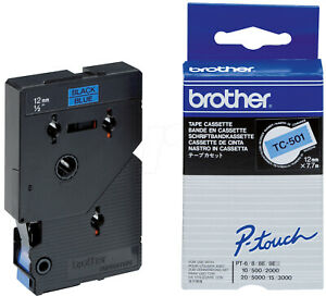 Brother 12 mm x black on blue laminated tape for P-Touch PT-2000 PT-3000 TC501