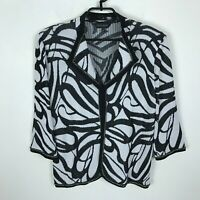 Ming Wang Cardigan Sweater Womens Size L Black White Open Front 3/4 Sleeve Chain