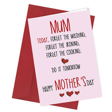 #114 Do it Tomorrow MOTHERS DAY Card Funny Humour Mother's Day Mum Mature Swear