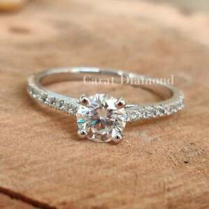 1.60 CT Round Brilliant Moissanite Engagement Ring 14K White Gold Finish