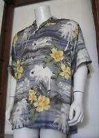 L Men Tommy Bahama Short Sleeve Hawaiian Shirt Silk Blue Green Floral Palms EuC