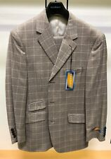 BNWT Steve HARVEY 44L Brown Houndstooth WOW Checks Exotic Adams Suit 3PC Stacy