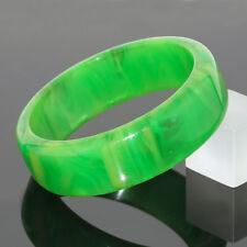Vintage Bakelite Bracelet Bangle translucent creamy spinach green marble color