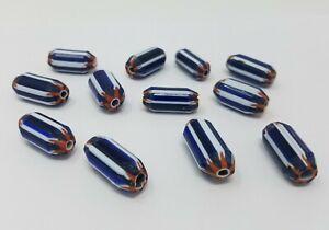 12 pcs Large Blue White Layered Glass Chevron Craft Jewelry Beads Made in India
