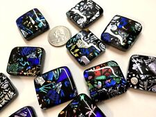 12 Mosaic DICHROIC Fused Art Glass Cabochons Accent Tiles DIY Cabinet Knobs