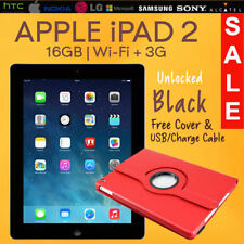 "Apple iPad 2 16GB, Wi-Fi + 3G Cellular (Unlocked), 9.7"" Black, Good Condition"